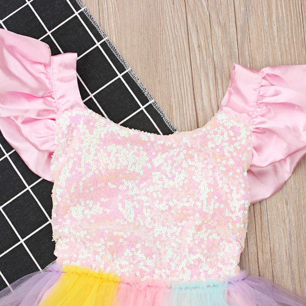 Whitegeese Toddler Kid Baby Girl Sleeveless Rainbow Sequined Lace Princess Romper Dress