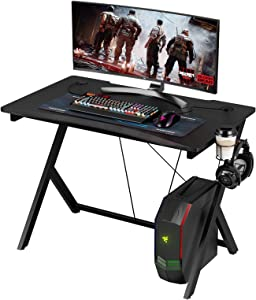 """HOMECHO Gaming Desk, Simple Home Office Computer Desk, Racing Style Gaming Table with Headphone & Cup Holder, Laptop Writing Desk Gamer Workstation, Easy Assembly, 43"""" Black"""