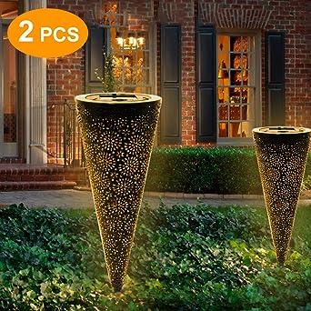 Lámparas solares para faroles de jardín para exterior – IP65 resistente al agua luces solares jardín – 2 unidades blanco cálido farolillos para exterior: Amazon.es: Iluminación