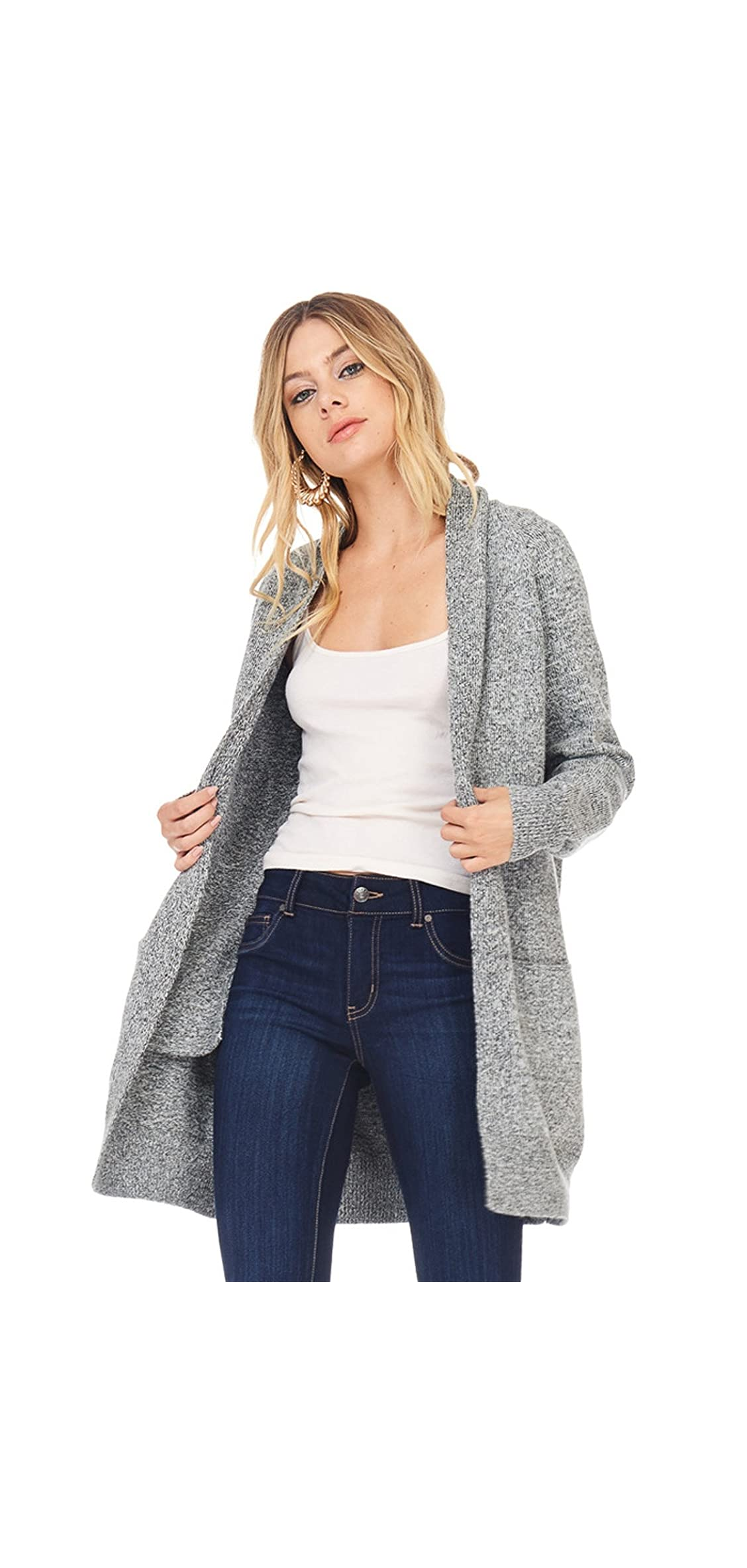 Ad Womens Casual Oversized Knit Cardigan Chunky Sweater