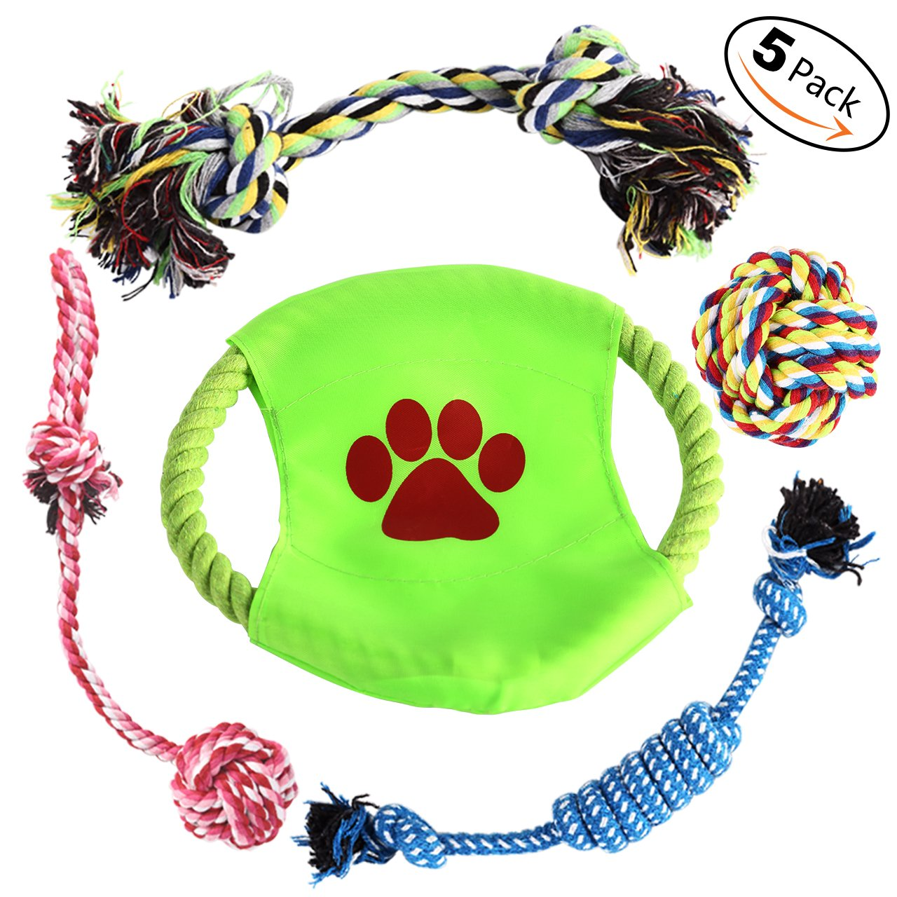 Aipper Dog Rope Toys 5 Pack, Dog Chew Toys, Variety Puppy Teething Toys for Medium to Small Doggie (Random Colors)