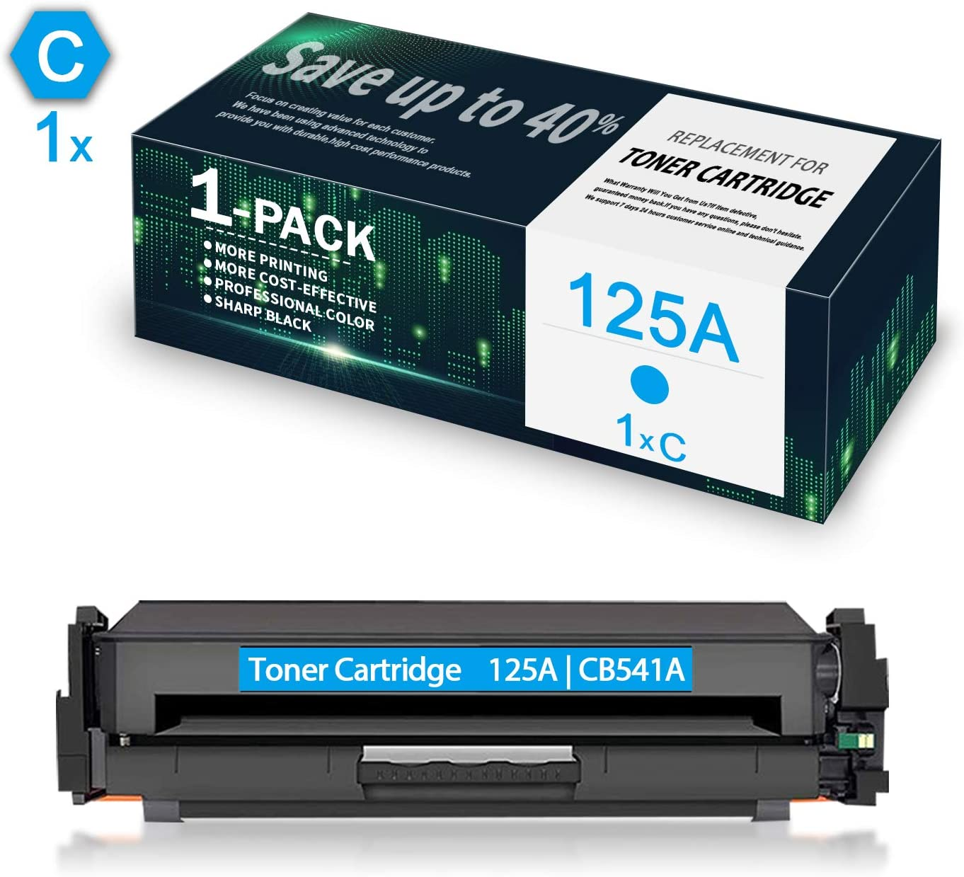 1-Pack Cyan 125A | CB541A Compatible Remanufactured Toner Cartridge Replacement for HP Color Laserjet CP1215 CP1518ni CP1515n CM1312nfi CM1312 Printer, Toner Cartridge.