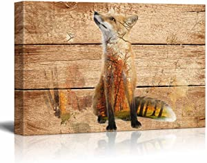 wall26 - Double Exposure Rustic Canvas Wall Art - Fox in The Wild on Vintage Wood Background - Giclee Print Modern Wall Decor | Stretched Gallery Wrap Ready to Hang - 16x24 inches