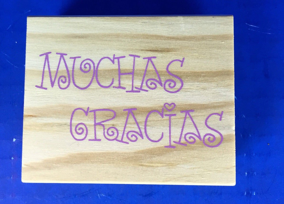 New! Large Wood Mounted Rubber Stamp (849609) ``Muchas Gracias`` 3 x 2.5`` supply:jbm_solutions manrojoytion