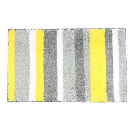 TideTex European Style Simple Stripes Rug Yellow Black Gray Mix Splice Design Area Microfiber Bath