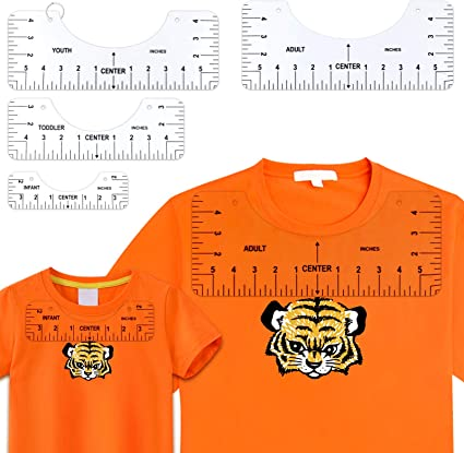 4 Pieces T-Shirt Alignment Ruler Craft Ruler with Guide Tool for Making Fashion Center Design Acrylic Centering Ruler Tool for Vinyl Heat Press Sublimation Designs On Shirts 4 Rulers Included
