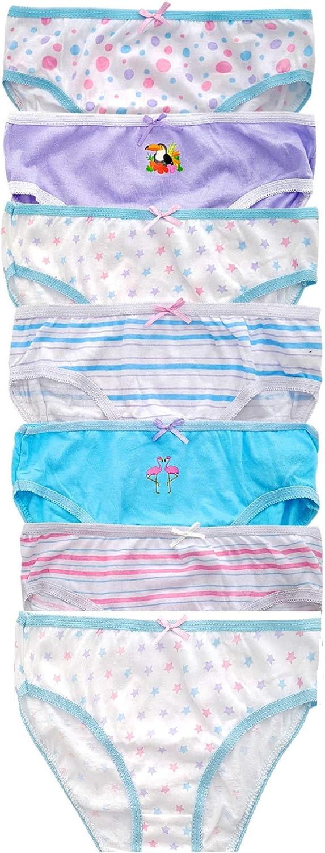 Flamingo /& Toucan Pack of 7 Mystoreonline9 Girls 100/% Cotton Printed Briefs Knickers Underwear Unicorn/& Rainbow