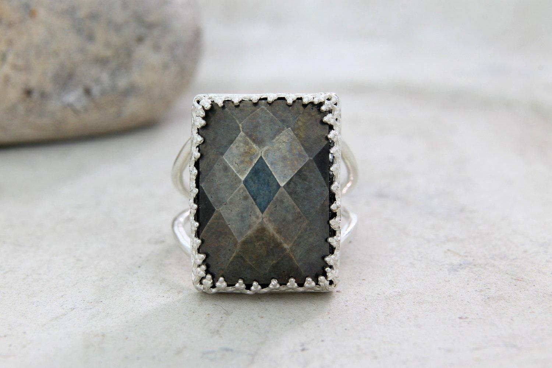 Pyrite ring,Rectangular ring,large ring,big ring,statement ring,grey ring,silver ring,gemstone ring,faceted ring