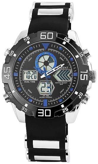 Akzent Reloj de Hombre Negro Plata Azul analógico Digital Fecha Reloj de Pulsera: Amazon.es: Relojes
