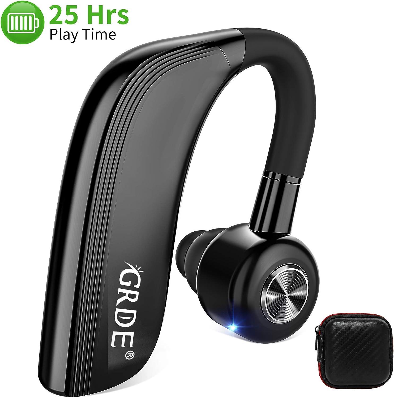 GRDE Auriculare Bluetooth In-Ear Siri Manos Libres Bluetooth Auricular Inalámbricos con 25 Horas de Tiempo de Conversación HD Micrófono Cancelación de Ruido para Smartphone Business y Driving