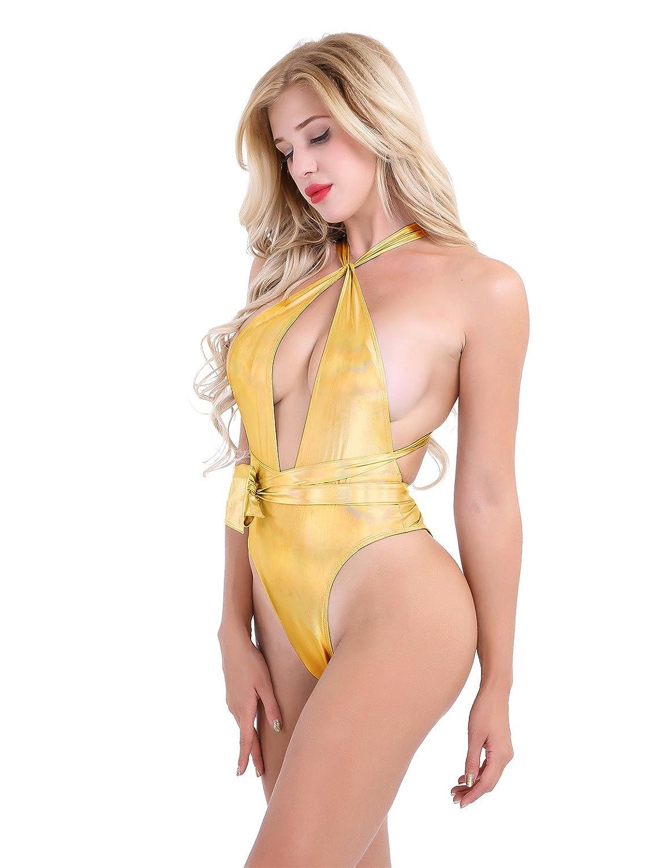 8e3d6dc16b798 FEESHOW Mujeres Sexy Bikini Traje de baño de Una Pieza Push up Cuello  Halter para Mujer Dorado XL  Amazon.es  Ropa y accesorios
