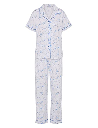 41c53597 Amazon.com: Ladies Slenderella Floral Pyjamas Button Up Short Sleeve Top &  Trouser Bottoms Set (Blue or Pink): Clothing