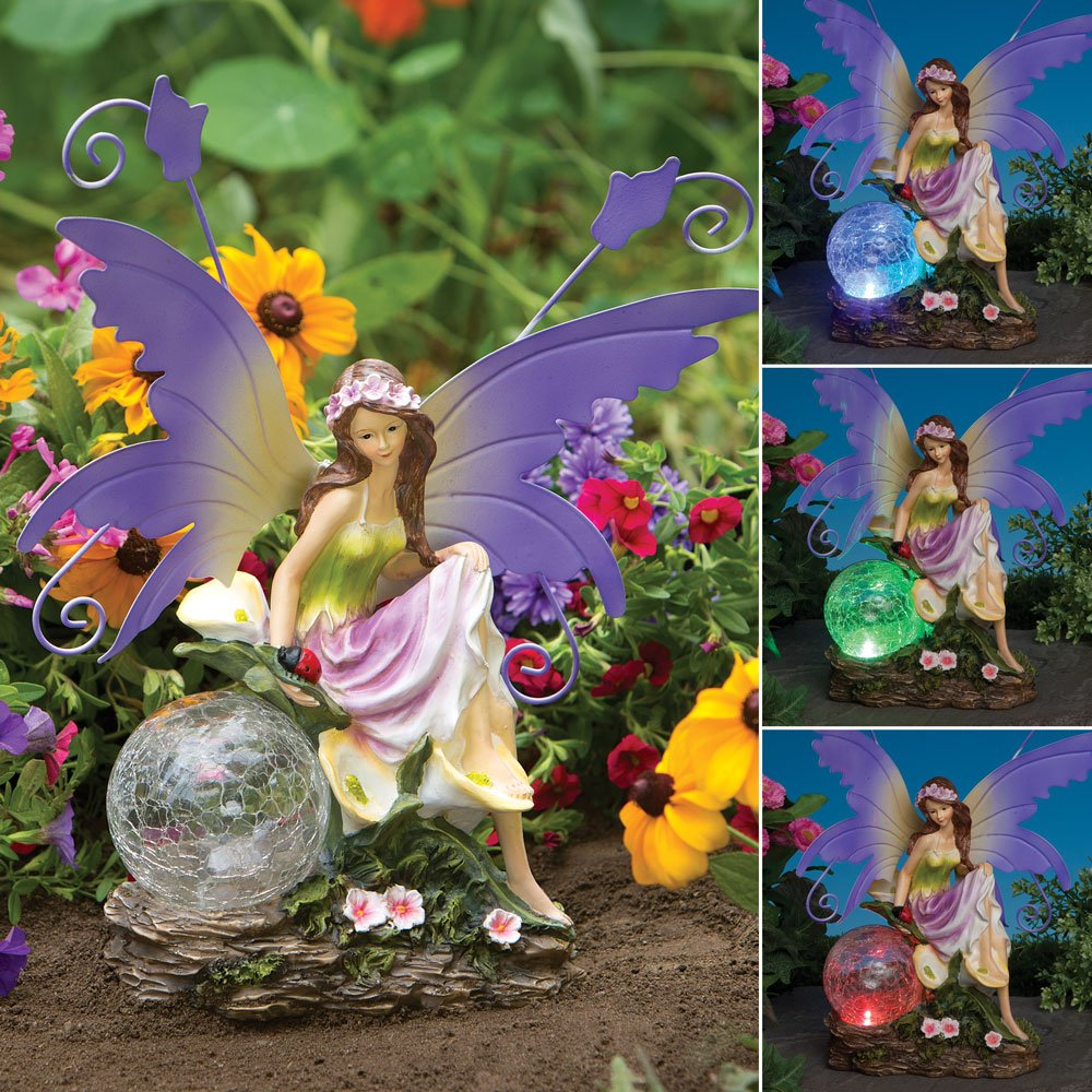 Bits And Pieces Outdoor Fairy Sculpture-Color Changing Solar Garden Fairy - Multicolored Changing Bulb - Solar Powered