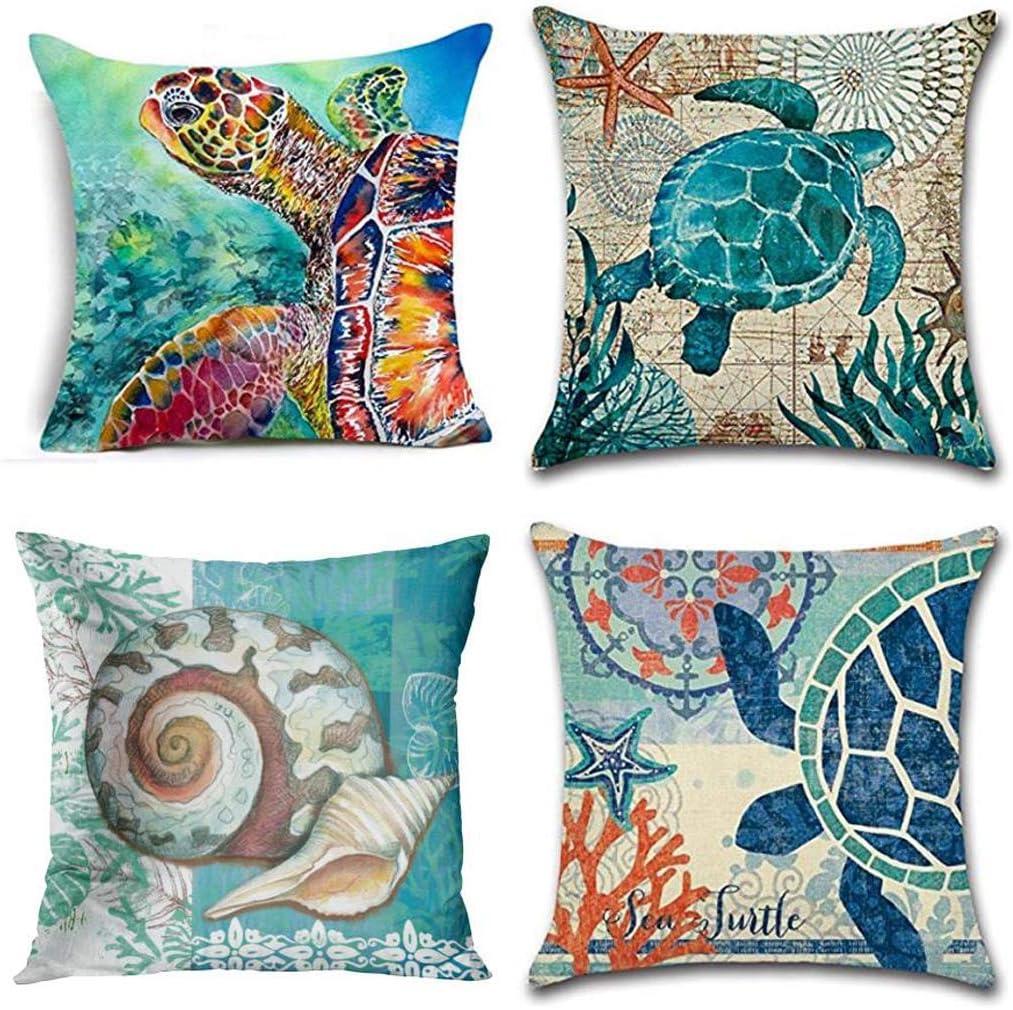 Jbralid Sea Turtle Watercolor Ocean Theme Mediterranean Style Patio Coastal Animal Cotton Linen Indoor Decor Throw Pillow Cover Case Set of 4, 16x16 in