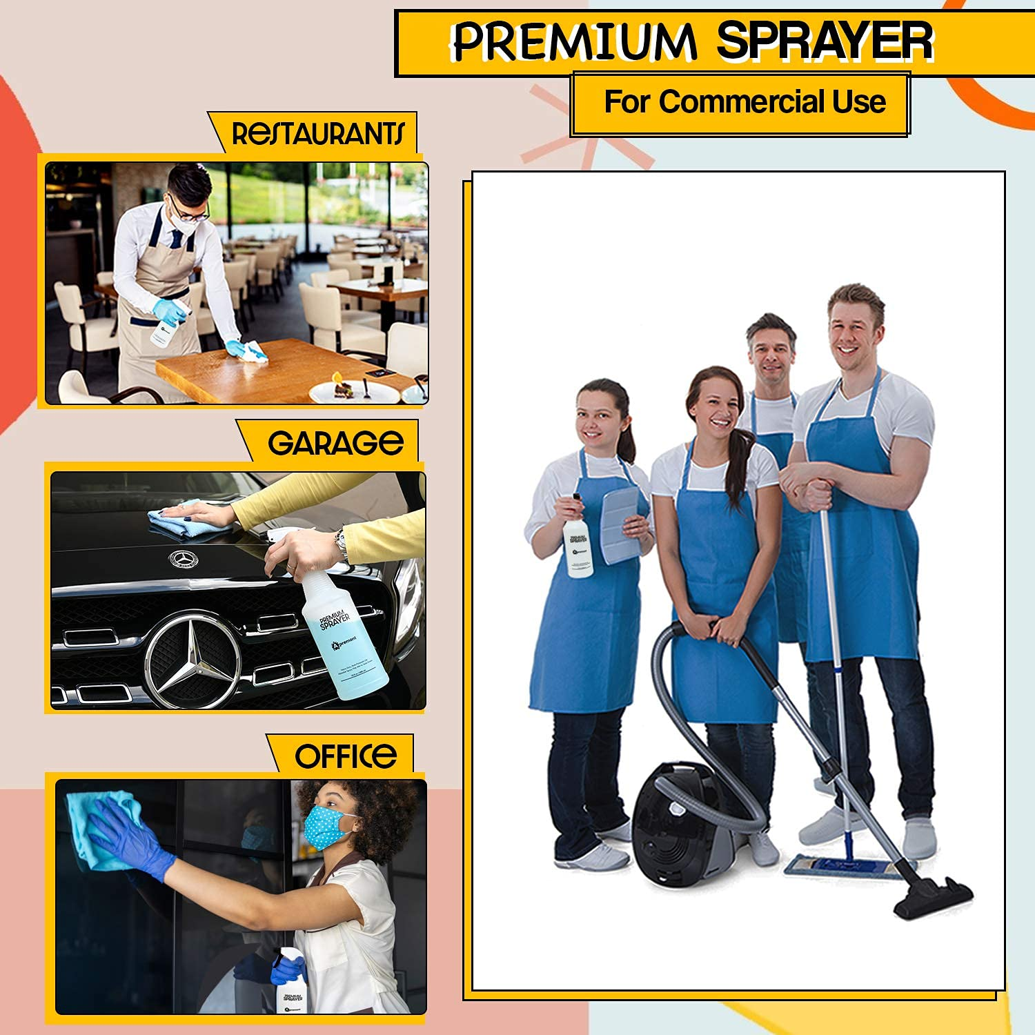 Apremont sanitizing Spray or Squirt Bottles Heavy Duty Spray Bottle 4 Pack 32oz Upgraded Sprayer Empty Spray Bottle for Cleaning Solutions Leak Proof Industrial Water Mist with Adjustable Nozzle