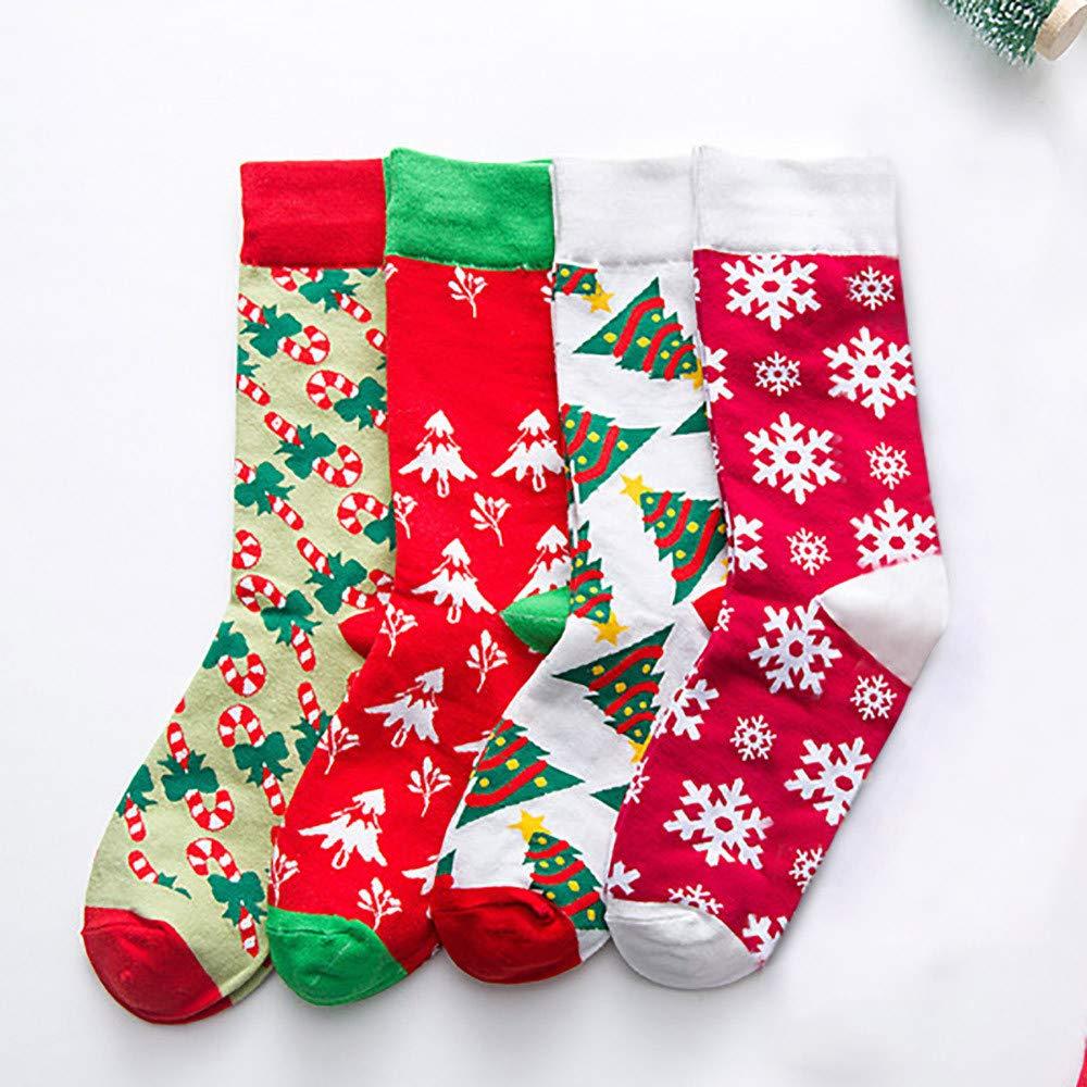 Christmas Long Socks,Women Cotton Xmas Tree Multi-Color Printed Leg Warmer Winter Warm Socks (Free Size, D) by Leewos (Image #4)