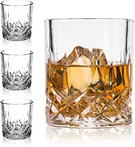 Crystal Whiskey Glasses-Premium 11 OZ Scotch Glasses Set of 4 /Old Fashioned Whiskey Glasses/Gift for Scotch Lovers/Style Glassware for Bourbon/Rum glasses/Bar Tumbler Whiskey Glasses, Clear