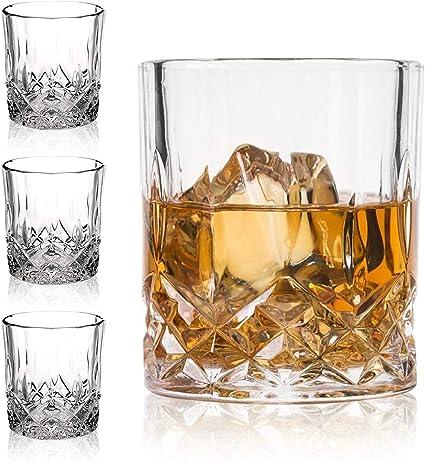 Juego de 4 vasos de whisky de cristal premium de 325 ml, vasos de whisky antiguos, regalo para los amantes de los escocés, cristal de estilo para ...
