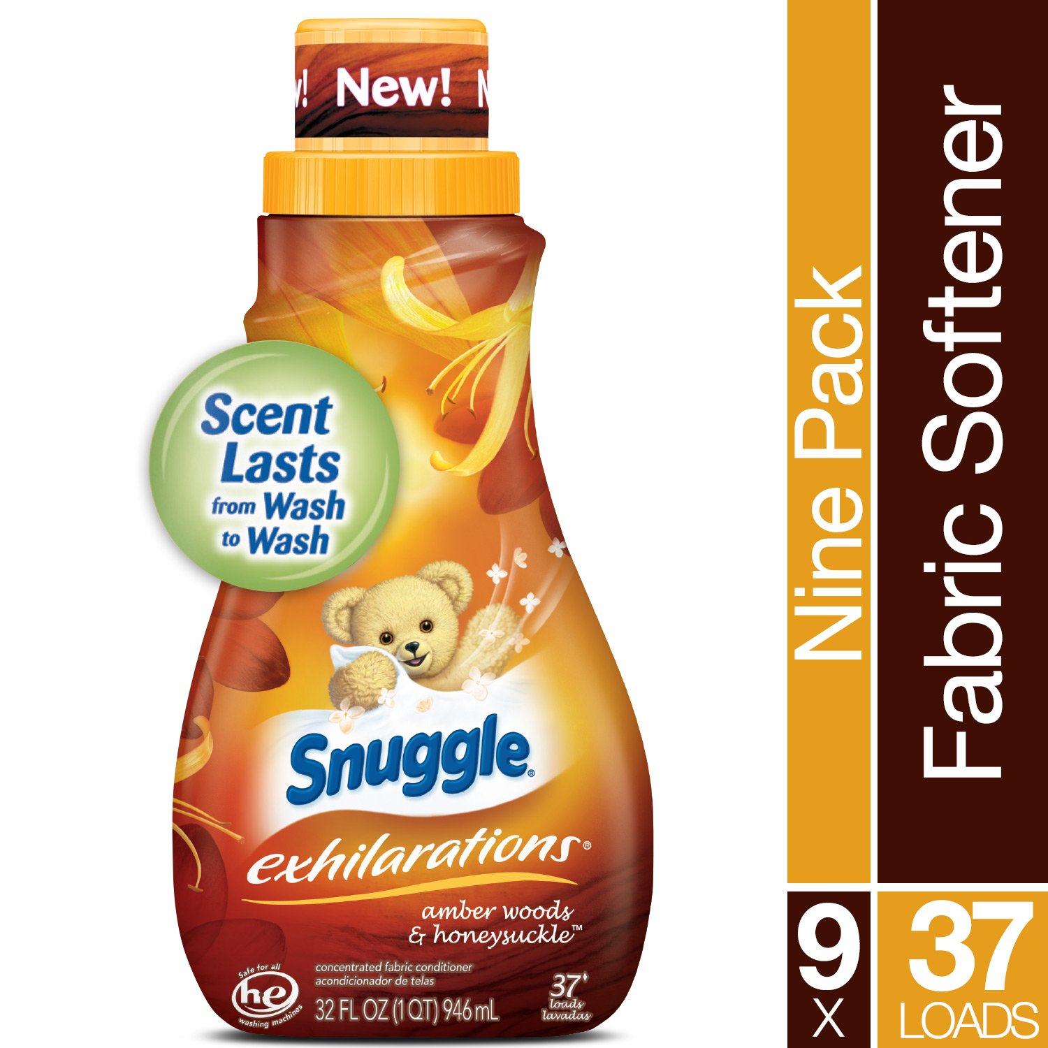 Snuggle Exhilarations Liquid Fabric Softener, Amber Woods & Honeysuckle, 32 Fluid Ounces (Pack of 9) by Snuggle (Image #3)
