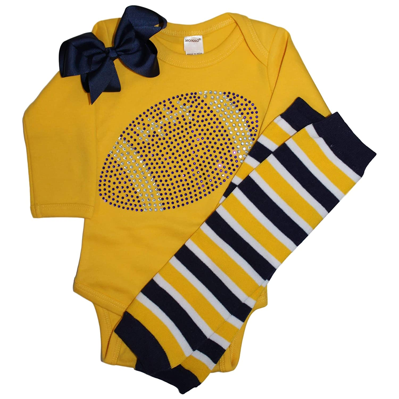 Bodysuit FanGarb Baby Girls Blue Rhinestone Football Team Rhinestone Outfit Leg Warmers /& Bow