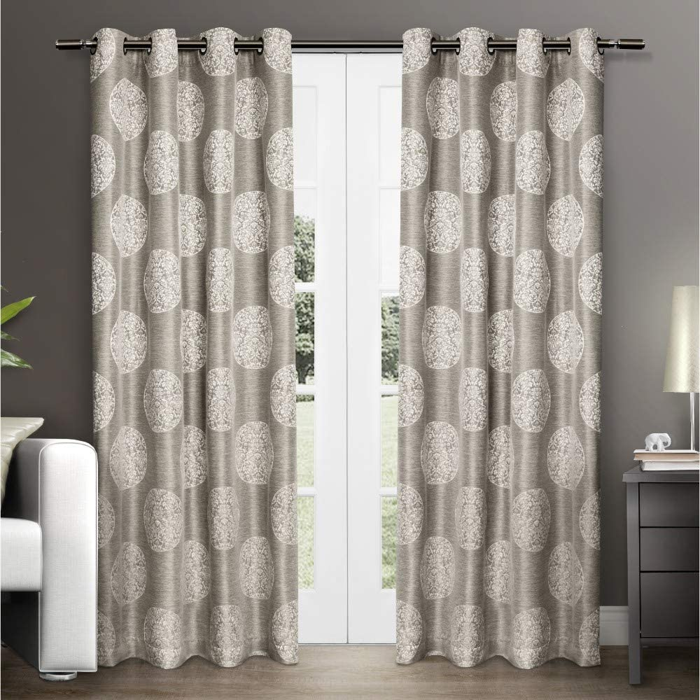 Exclusive Home Curtains Akola Medallion Linen Jacquard Grommet Top Curtain Panel Pair, 54x84, Natural, 2 Piece