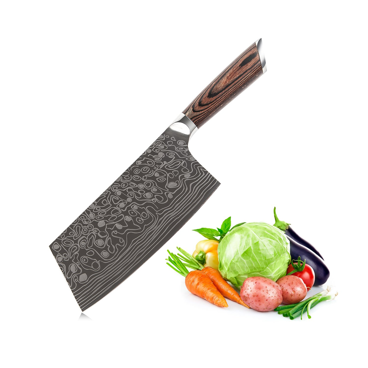 EKUER 7-Inch Chinese Chef's Meat Chopper Cleaver Butcher Vegetable Knife for Home Kitchen or Restaurant,German High Carbon Stainless Steel