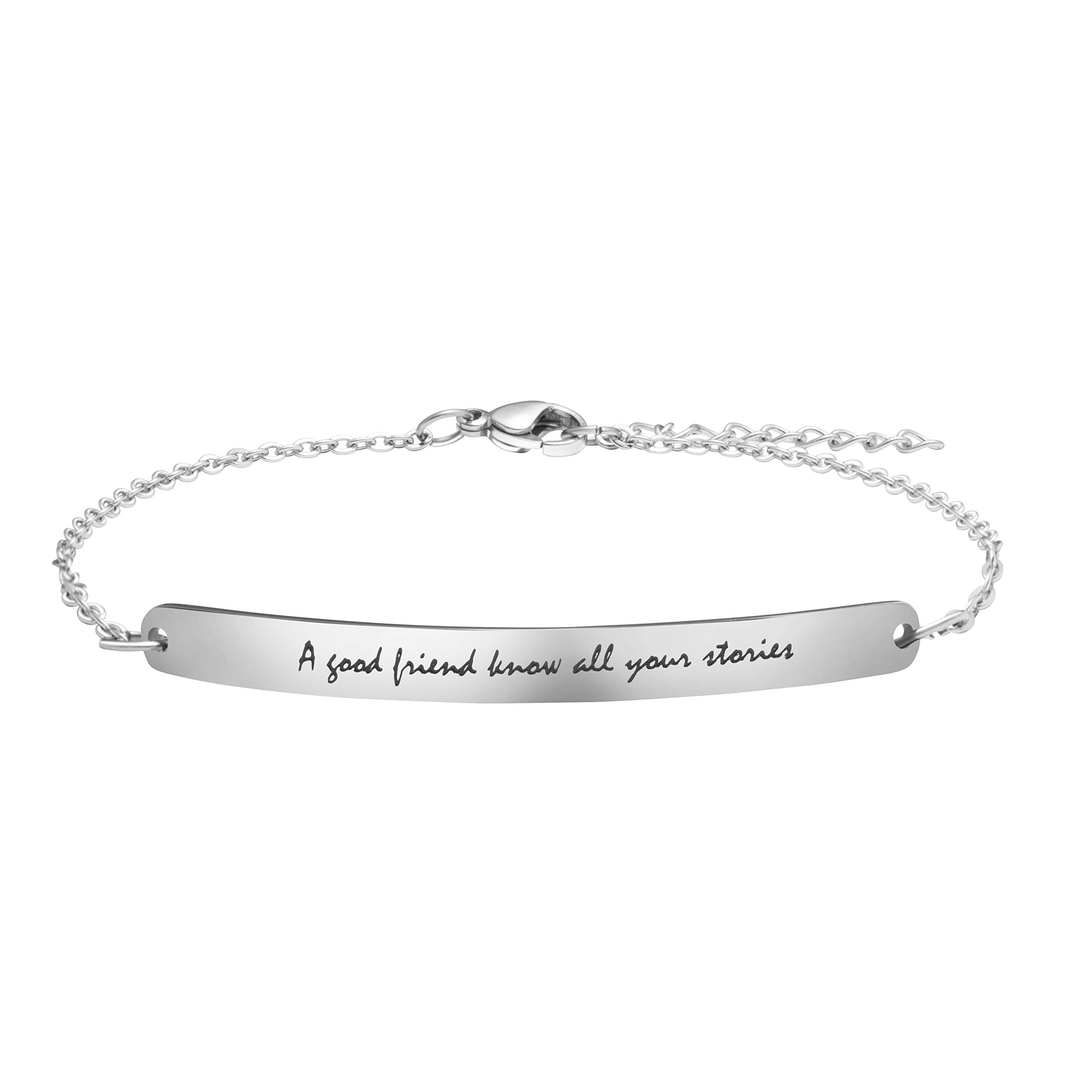Joycuff Friendship Bracelets for Women Birthday Encouragement Jewelry for Friends Engraved A Good Friend Know All Your Stories