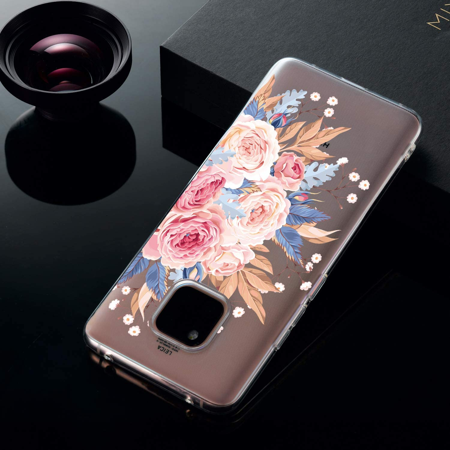 Lovely Fowers Amocase Cute Floral Case with 2 in 1 Stylus for Huawei Mate 20 Pro,Stylish Ultra Thin Sweet Flowers Soft Rubber Silicone TPU Shockproof Anti-Scratch Flexible Clear Case