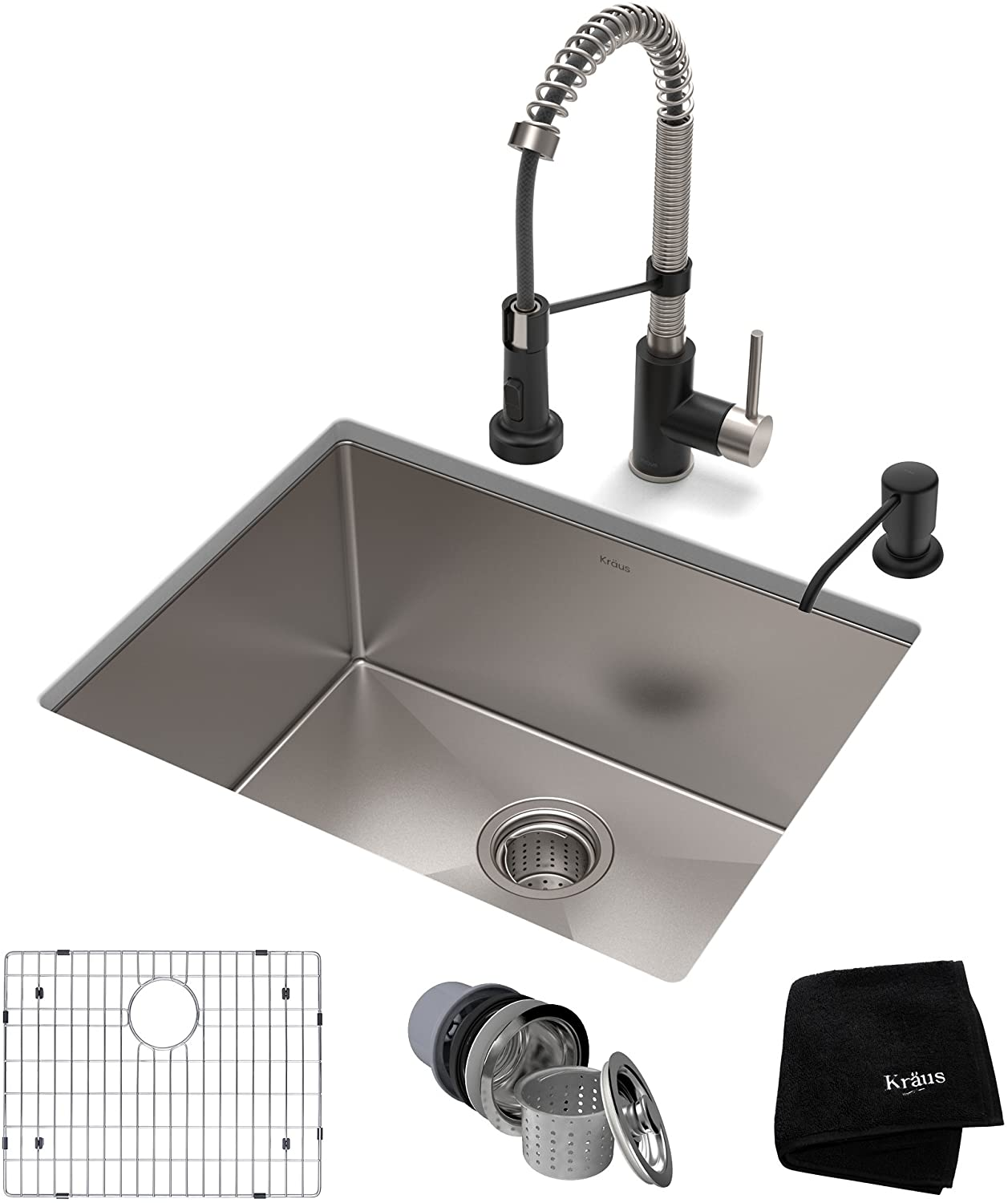 KRAUS KHU101-23-1610-53SSMB Set with Standart PRO Sink and Bolden Commercial Pull Faucet in Stainless Steel Matte Black Kitchen Sink & Faucet Combo