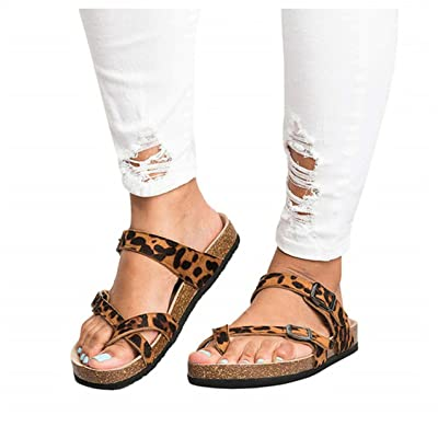 JOYCHEER Womens Gladiator Flat Sandals Ankle Strap Double Buckle Thong Summer Mayari Sandal | Flats