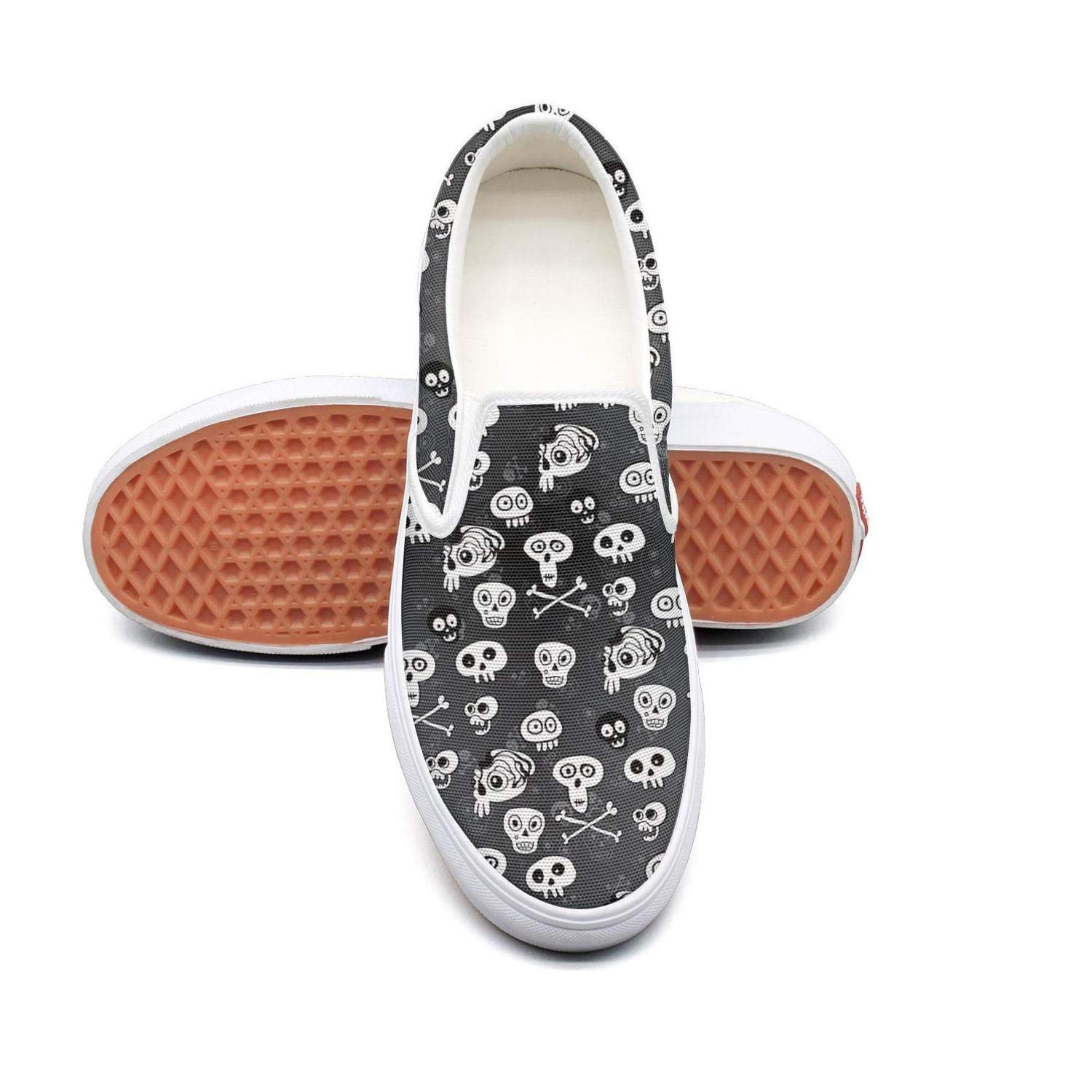 Skull Halloween Slip On Canvas Upper Loafers Canvas Shoes for Women Fashion