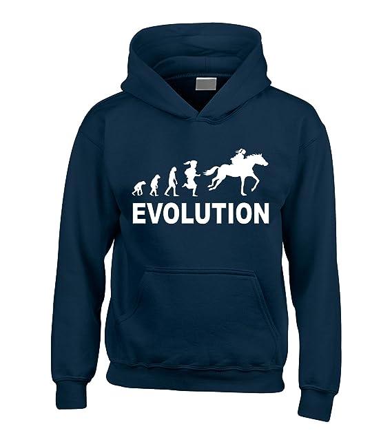 Sudadera de capucha con diseño de evolución y caballo, con texto «Evolution»