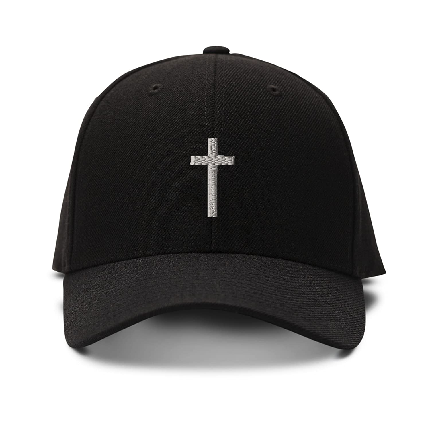 Amazon.com: Cross Silver Embroidered Unisex Adult Hook & Loop Acrylic Adjustable Structured Baseball Hat Cap - Black, One Size: Clothing