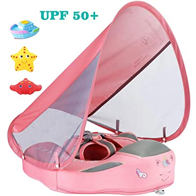 V Convey Baby Infant Soft Solid Non-Inflatable Float Lying Swimming Ring Children Waist Float Ring Floats Pool Toys Swim Trainer Classic Sunshade Swim Ring with Sun Canopy (Pink C): Toys & Games