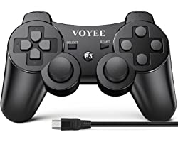 VOYEE Wireless Controller Compatible with Playstation 3 PS3, with Upgraded Joystick/Rechargerable Battery/Motion Control/Doub