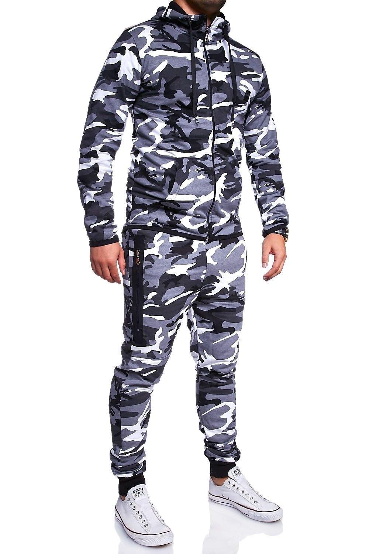 BEHYPE Men's Tracksuit Basic Jogging Pants + Sweatshirt Jacket Camouflage R-7039
