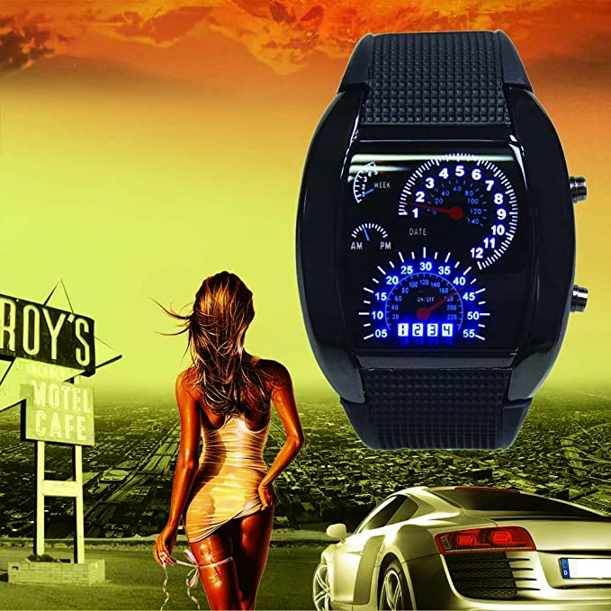 Amazon Com Hot Cool Men Rpm Turbo Sport Watch Car Speed Meter Dial