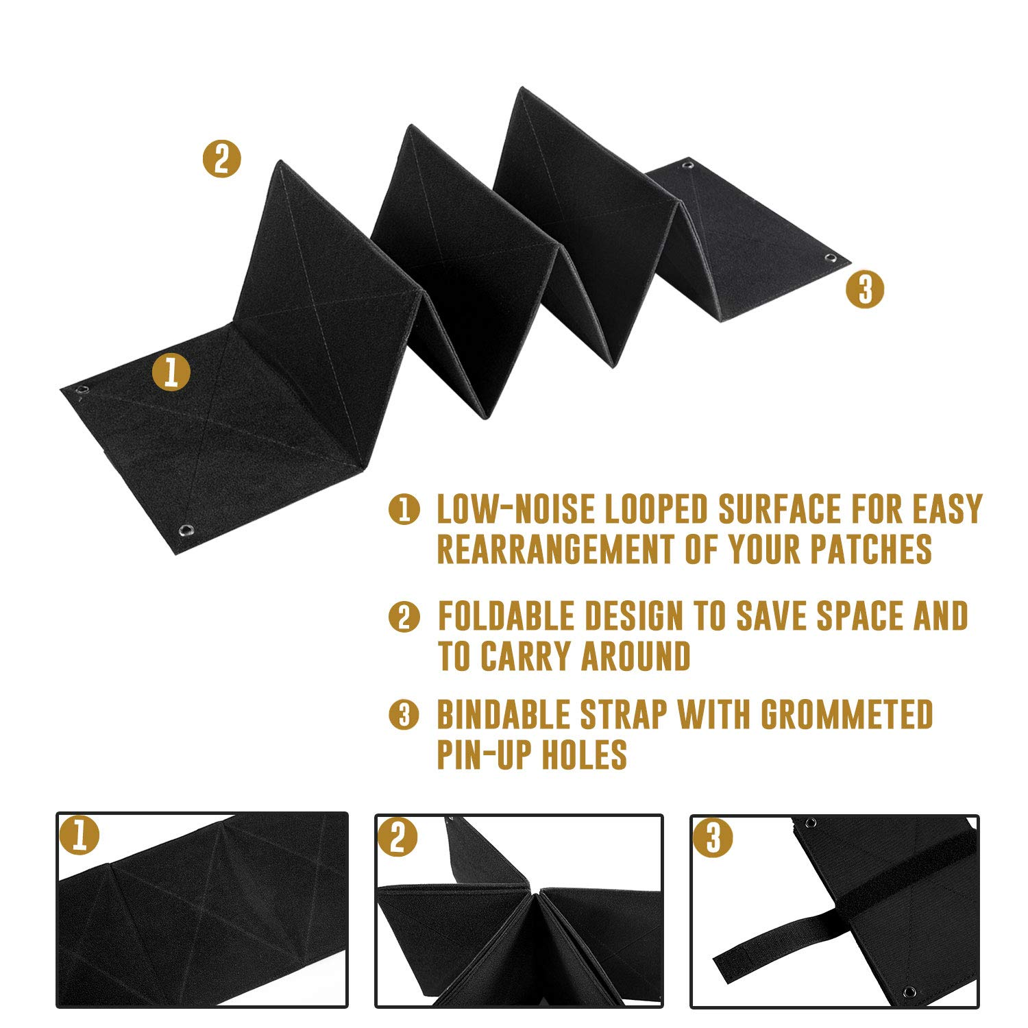 Foldable Portable Patches Panel Holder Board OneTigris Patch Organizer Booklet Black