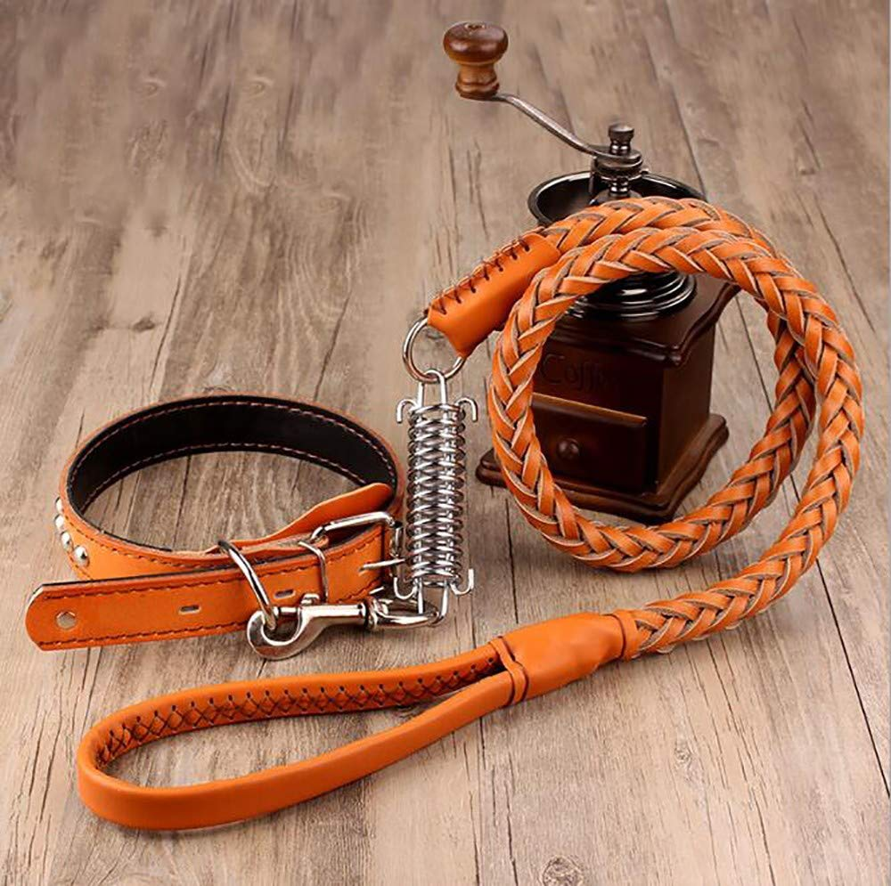 Yellow brown Leather Braided Training Leads,Soft and Super Strong Belt Genuine Leather Leash Comfortable Leather Handle Explosion-Proof Spring for Medium and Large Dogs Suitable Walking 120cm
