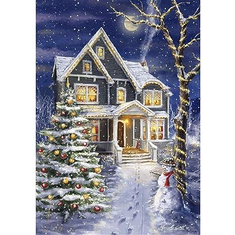 TONVER 5D Kit de pintura de diamantes, mosaico diamante dibujo Santa Claus/Snowman paisaje