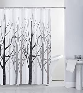 skymoving Shower Curtain Fabric with Hooks Mildew Resistant Bath Curtain Waterproof & Antibacterial, 72x72 INCH