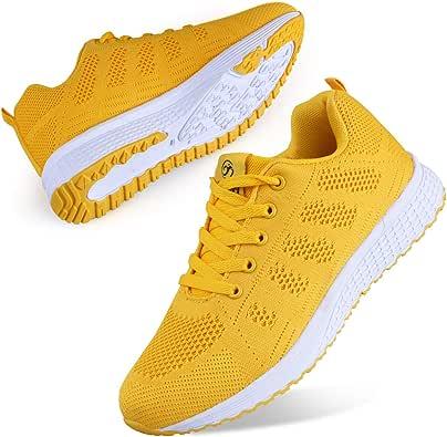 Youecci Mujeres Zapatillas de Deportivos de Running para Mujer Gimnasia Ligero Sneakers Malla Transpirable con Cordones Zapatillas Deportivas para Correr Fitness Atlético Caminar Zapatos