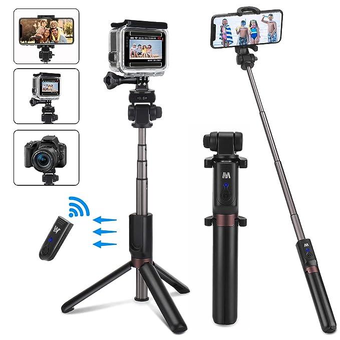 50// 128cm Smartphone Stativ mit Handy Halterung und Bluetooth Fernbedienung Kamera Stativ f/ür iPhone XS Max//X//8//7//6 Plus,Samsung,Huawei und Kamera PEYOU Handy Stativ