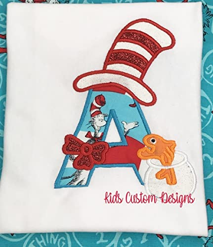Amazon Girls Dr Seuss Day Shirt First Initial Letter Cat Hat
