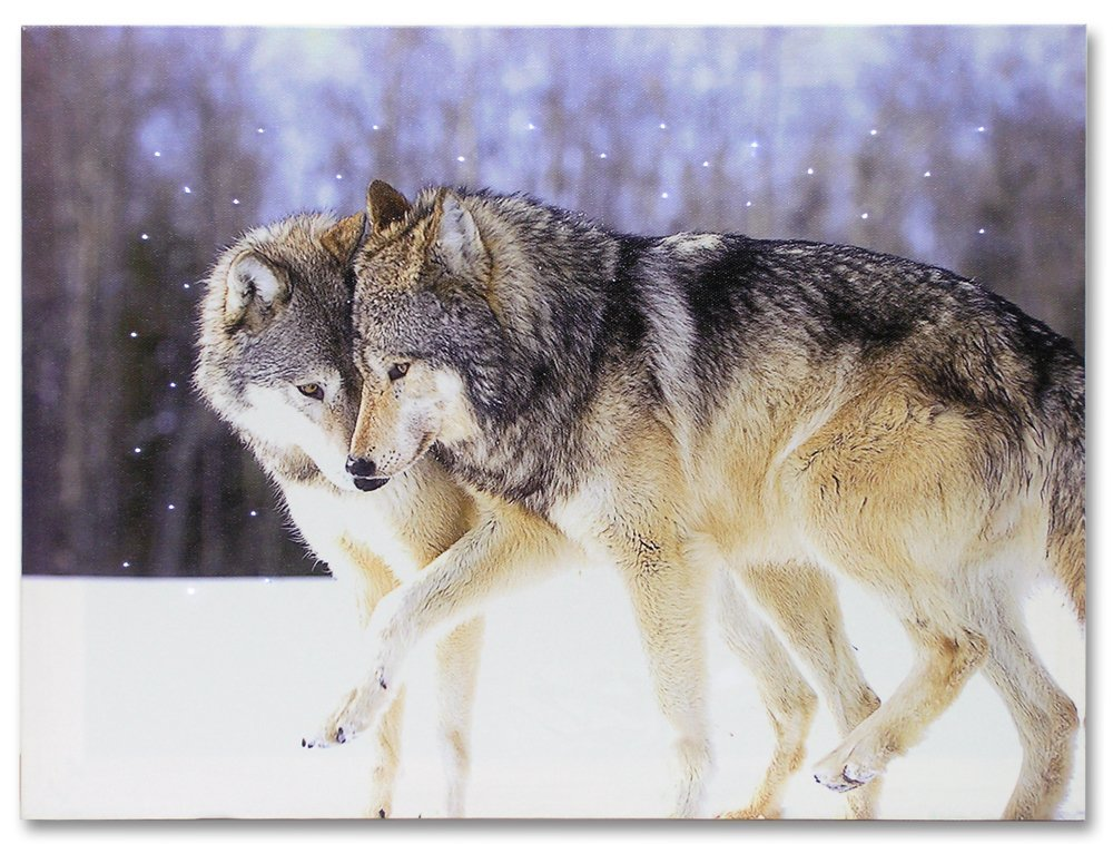 Wolves Led Lighted Canvas Home Decor 16 X 12 Rustic