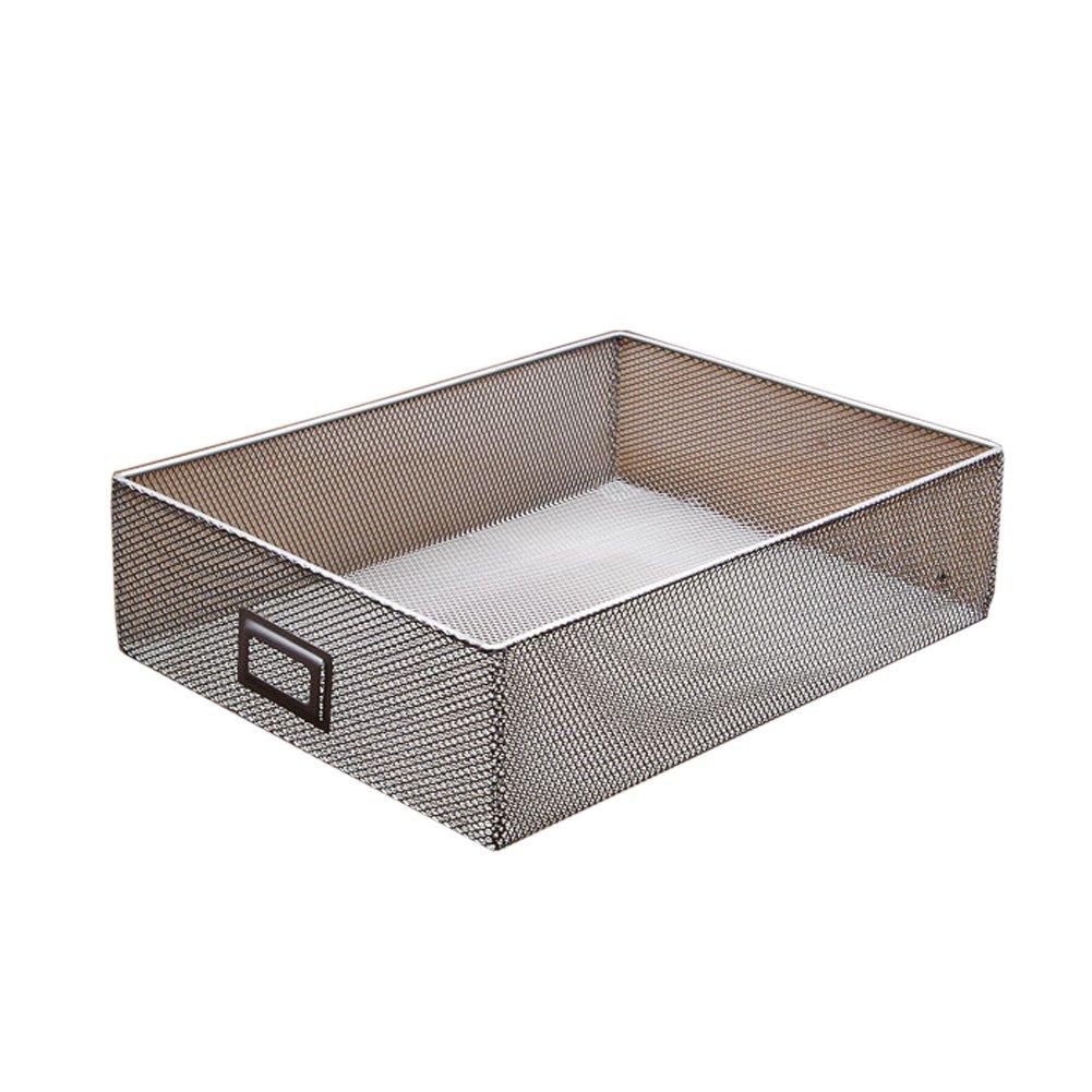 Lzttyee Sturdy Metal Mesh CD Storage Box Basket Media Holder Organizer Stackable Open Storage Bin with Tag Window for Easy Labeling (31x23x7.8cm)