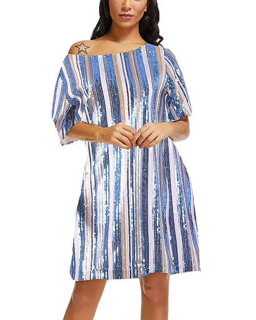 62a7fad258c9 Women Sparkle Sequin Dress, Off Shoulder Glitter Striped Rainbow Short  Sleeve Loose Hip Hop T