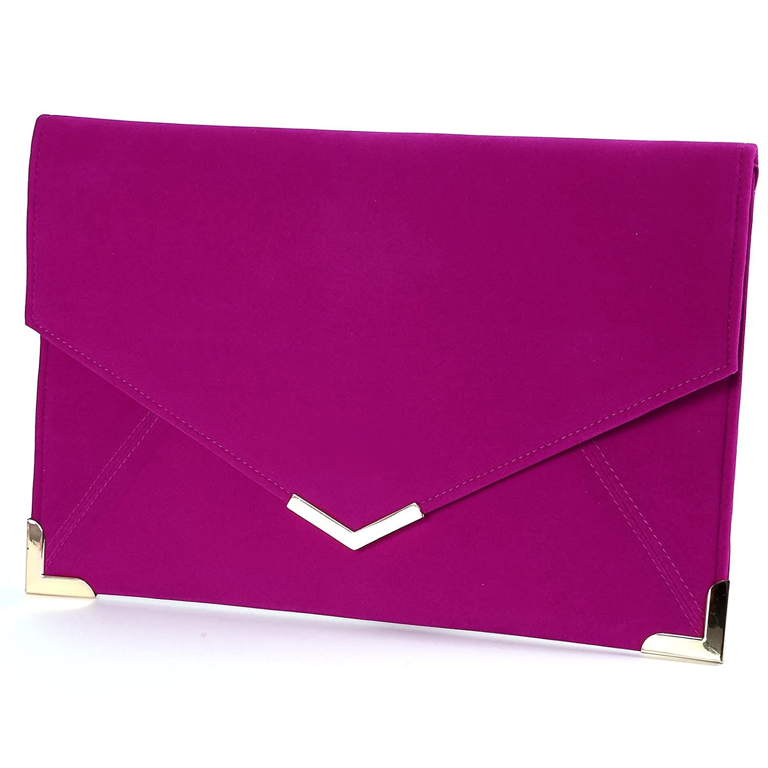 Anladia Velvet Envelope Clutch Large Evening Bag Women Bag Metal-Trim Shoulder Bag