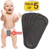 Bembika 5 Layer Bamboo Charcoal Inserts Liners Natures Cloth Diaper Liner, Wetfree Reusable Washable Cotton Diaper Nappy Inserts for Baby Cloth Diapers (Set of 5)