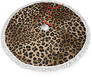 "MSGUIDE Leopard Print Christmas Tree Skirt 48"" Large Halloween Xmas Tree Decor for Holiday Party Decor Christmas Decoration"